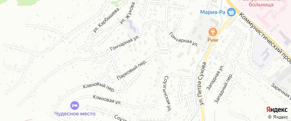 Парковый переулок на карте Горно-Алтайска с номерами домов