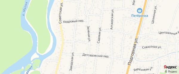 Зеленая улица на карте села Майма с номерами домов