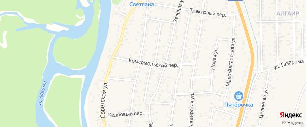 Комсомольский переулок на карте села Майма с номерами домов