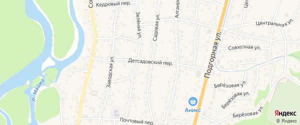Детсадовский переулок на карте села Майма с номерами домов