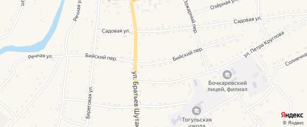 Бийский переулок на карте села Тогула с номерами домов