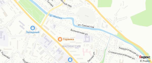 Больничная улица на карте Горно-Алтайска с номерами домов