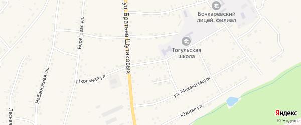 Школьная улица на карте села Тогула с номерами домов