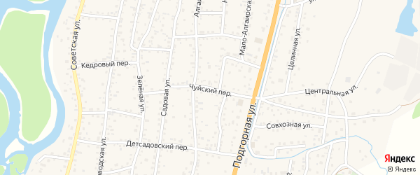 Чуйский переулок на карте села Майма с номерами домов