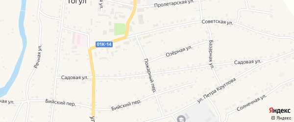 Пожарный переулок на карте села Тогула с номерами домов