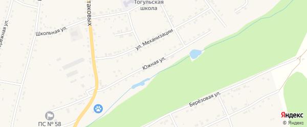 Южная улица на карте села Тогула с номерами домов