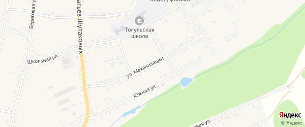 Улица Механизации на карте села Тогула с номерами домов