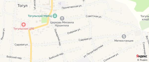 Озерная улица на карте села Тогула с номерами домов