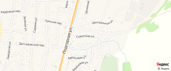 Совхозная улица на карте села Майма с номерами домов