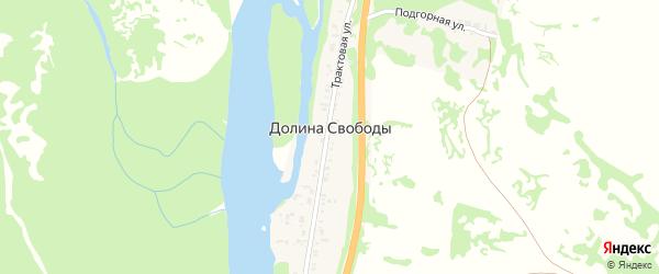 Зеленая улица на карте поселка Долиной Свободы с номерами домов