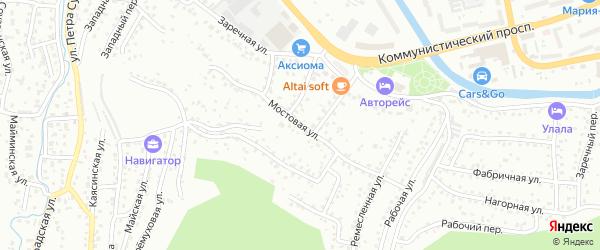 Мостовая улица на карте Горно-Алтайска с номерами домов