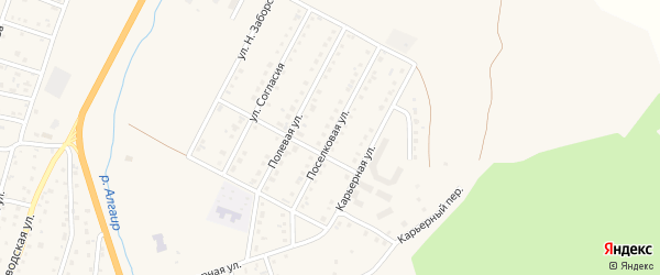 Поселковая улица на карте села Майма с номерами домов