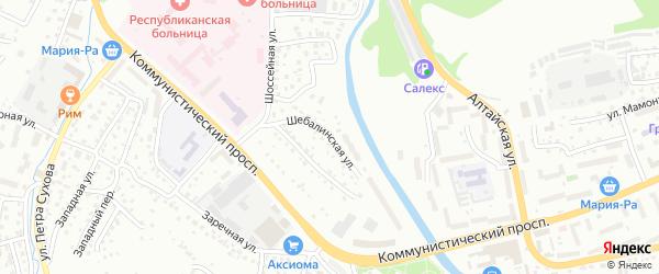 Шебалинская улица на карте Горно-Алтайска с номерами домов