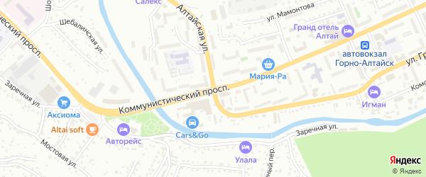 Коммунистический проспект на карте Горно-Алтайска с номерами домов