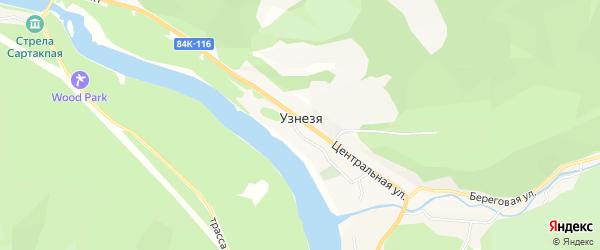 Карта села Узнези в Алтае с улицами и номерами домов
