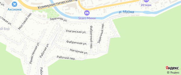 Фабричный переулок на карте Горно-Алтайска с номерами домов