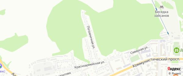 Пограничная улица на карте Горно-Алтайска с номерами домов