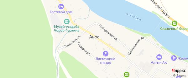 Набережная улица на карте села Аноса с номерами домов