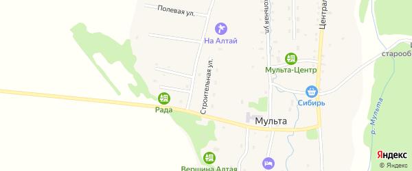 Строительная улица на карте села Мульты с номерами домов