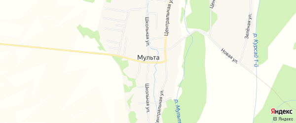 Карта села Мульты в Алтае с улицами и номерами домов
