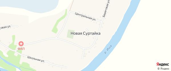 Береговая улица на карте села Новой Суртайки с номерами домов