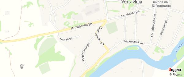 Подгорная улица на карте села Усть-Иша с номерами домов