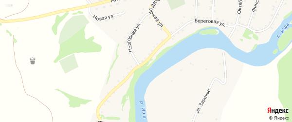 Береговая улица на карте села Усть-Иша с номерами домов