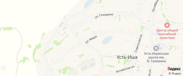 Улица Мира на карте села Усть-Иша с номерами домов