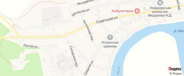 Котельный переулок на карте села Новиково с номерами домов