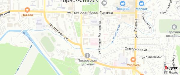 Центральный переулок на карте Горно-Алтайска с номерами домов
