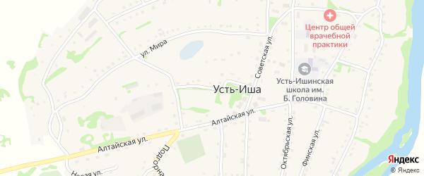 Школьный переулок на карте села Усть-Иша с номерами домов
