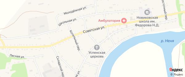 Озерный переулок на карте села Новиково с номерами домов
