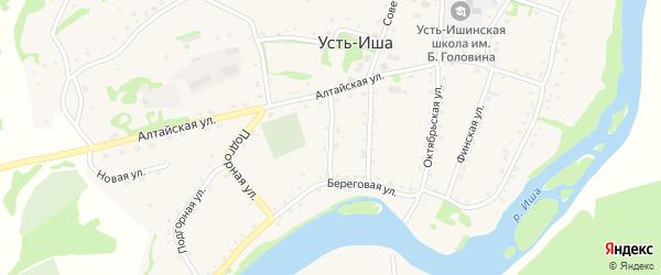 Короткий переулок на карте села Усть-Иша с номерами домов