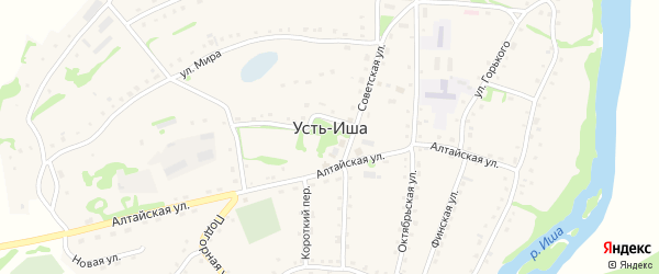 Улица Б.Головина на карте села Усть-Иша с номерами домов