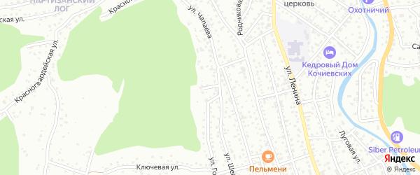 Хрустальный переулок на карте Горно-Алтайска с номерами домов