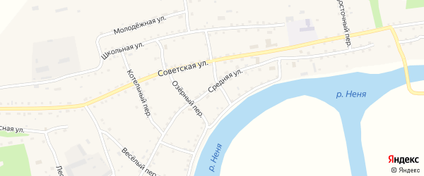 Средняя улица на карте села Новиково с номерами домов