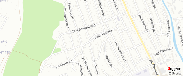 Переулок Чапаева на карте Горно-Алтайска с номерами домов