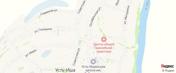 Советская улица на карте села Усть-Иша с номерами домов