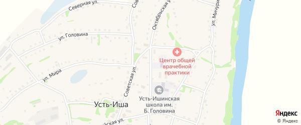 Октябрьская улица на карте села Усть-Иша с номерами домов