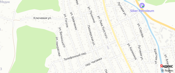 Улица Чапаева на карте Горно-Алтайска с номерами домов