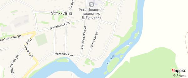 Финская улица на карте села Усть-Иша с номерами домов
