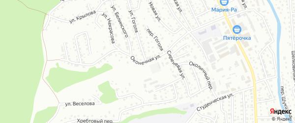 Оконечная улица на карте Горно-Алтайска с номерами домов