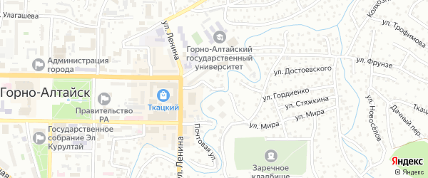 Переулок Ленкина на карте Горно-Алтайска с номерами домов