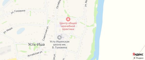 Улица Горького на карте села Усть-Иша с номерами домов