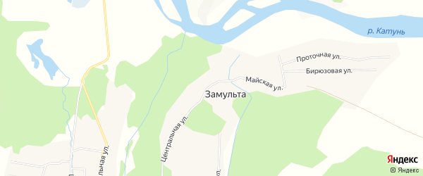 Карта поселка Замульты в Алтае с улицами и номерами домов