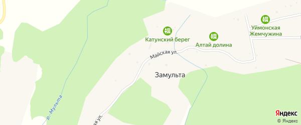 Майская улица на карте поселка Замульты с номерами домов