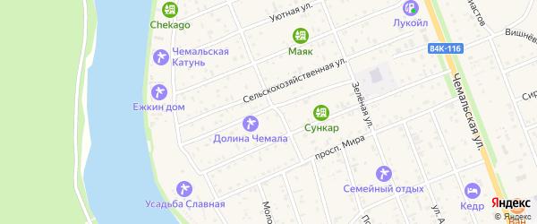 Улица Строителей на карте села Чемал с номерами домов