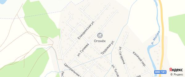 Улица Гуляева на карте села Кызыла-Озька с номерами домов