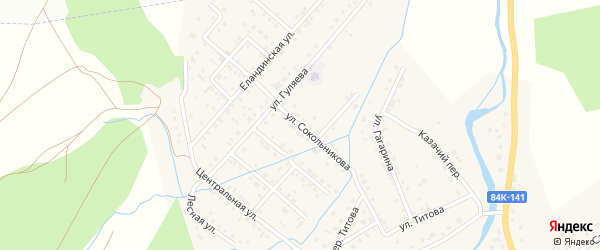 Улица Сокольникова на карте села Кызыла-Озька с номерами домов