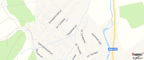 Трудовая улица на карте села Кызыла-Озька с номерами домов
